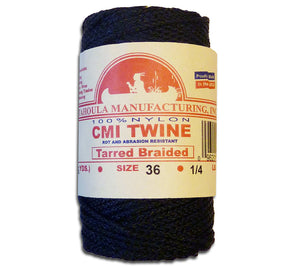 #36 Bank Line, tarred & braided, made in the USA, comes in 1/4 lb spools from Catahoula Manufacturing of Jonesville, Lousiana.