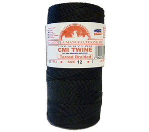 A 1 lb spool of #12 tarred braided AA Seine Twine from CMI, ideal for hunting, tarps, nets, snares, traps, and camping.
