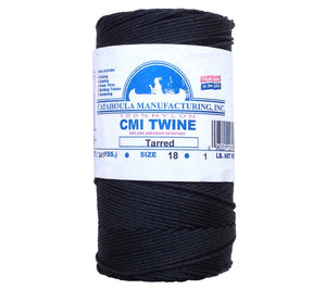 Free shipping on 1 pound spools of #18 twisted tarred bank line (nylon seine twine) from CMI.