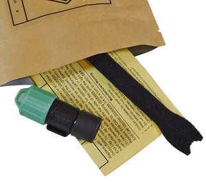 NVG Green Mk10 Finger Lights ship with velcro finger strap and instructions. 3 A76 alkaline batteries are included.
