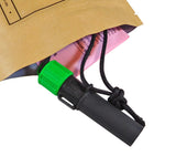Each green SERE 70 LED light comes with instructions, lanyard, and light shield.