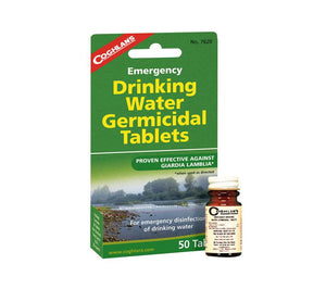 Iodine Drinking Water Treatment and Purification Tablets from Coghlan's. Similar to potable aqua.