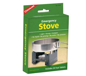Coghlan's Emergency Stove fits in your pocket and includes 24 hexamine solid fuel cubes.