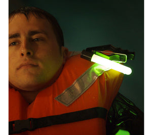 Attach the Cyalume PML to your clothing, life vest, PFD or Mustang Suit.