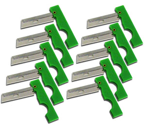 Ten pack of Derma-Safe Razors with Green plastic handles.