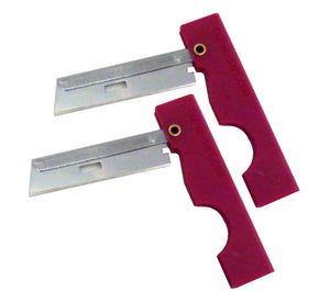 Two mil-spec folding utility razors with red impact plastic handles.