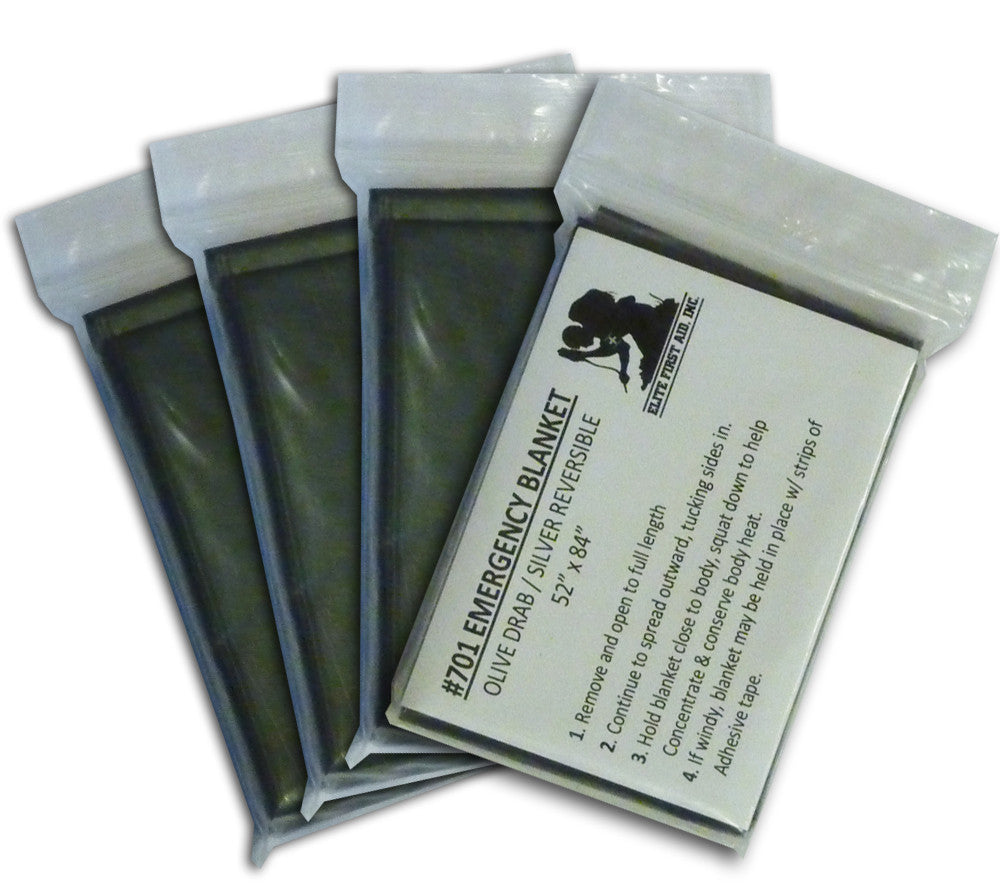 Family size four pack of mylar space blankets, olive drab.