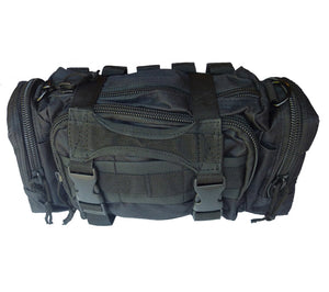 Black Rapid Response Bag with PALS grid, Drag Handle, and Compression Straps