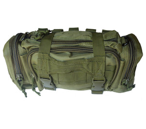 Olive Drab MOLLE Compatible Rapid Response Bag with PALS compatible attachment points.