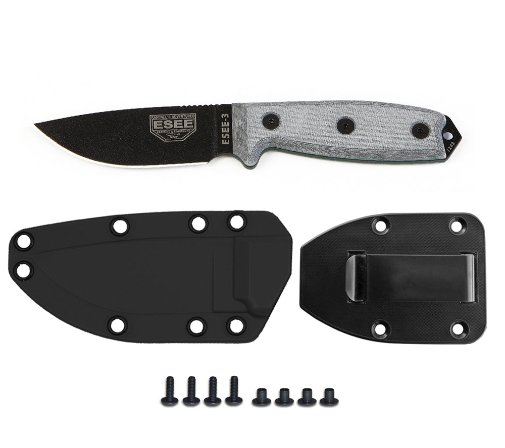 ESEE Knives Model 3 Knife, Plain Edge (BLACK) with Sheath & Belt Clip Plate