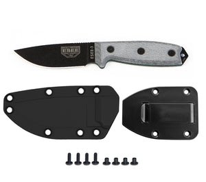 ESEE Knives Model 3P Knife with plain edge, black finish, molded sheath and belt clip plate.