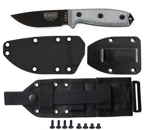The ESEE 3P Knife with molded sheath, belt clip plate, and MOLLE back panel.