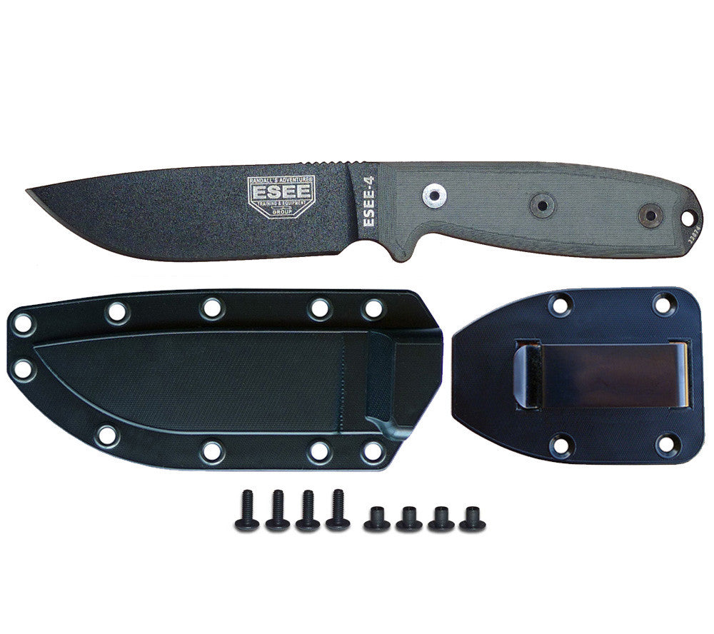 Model 4 Knife with Black molded poly sheath and belt clip plate.