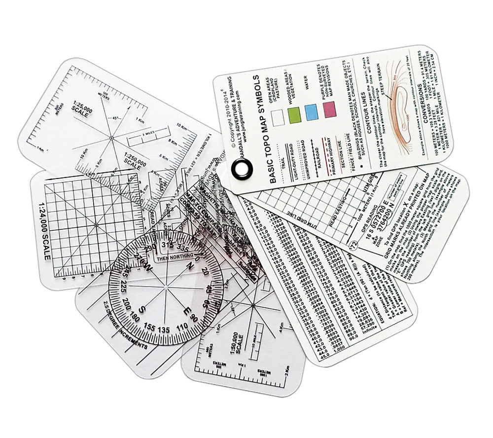 ESEE's Compass Cards include 3 front and back instruction cards and 4 transparent map overlays.