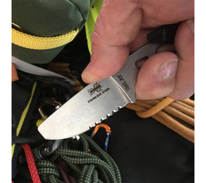 Featuring a blunted tip to protect against punctures and a serrated edge for fast rope cutting, the ESEE Knives Imlay Rescue Knife is made from stainless steel.