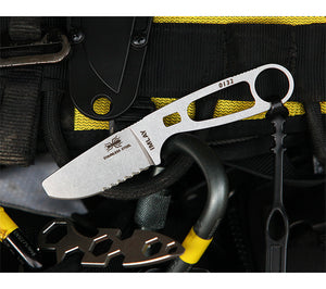 The ESEE Imlay also features a built-in oxygen wrench, critical for search and rescue operations.