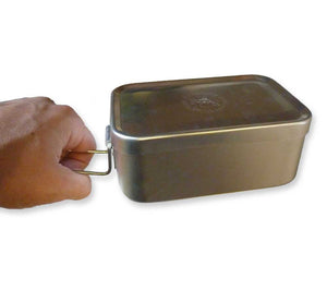 The aluminum mess tin from ESEE Knives has a folding wire handle for use when cooking, boiling water, or melting snow.