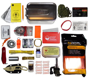 Large Tin Survival Kit Contents include an ESEE Candiru Knife, Suunto Compass, Victorinox Hiker Multitool, Pocket Navigation Cards and more.