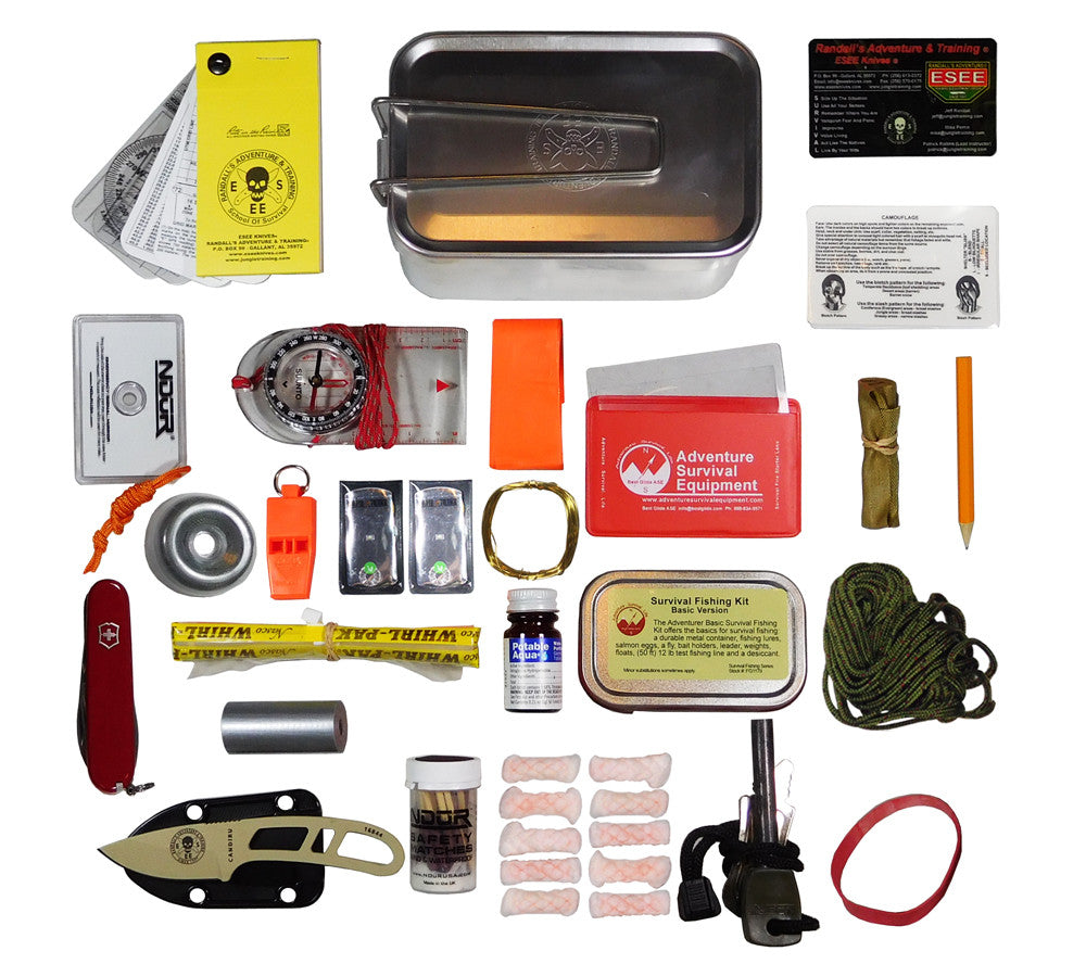 Kits survival esee mess tin candiru knife 5col for Survival fishing kit