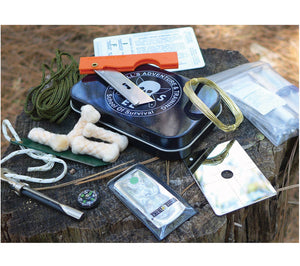 ESEE's Mini Survival Kit includes a signal mirror, TinderQuik tabs, button compass and more.