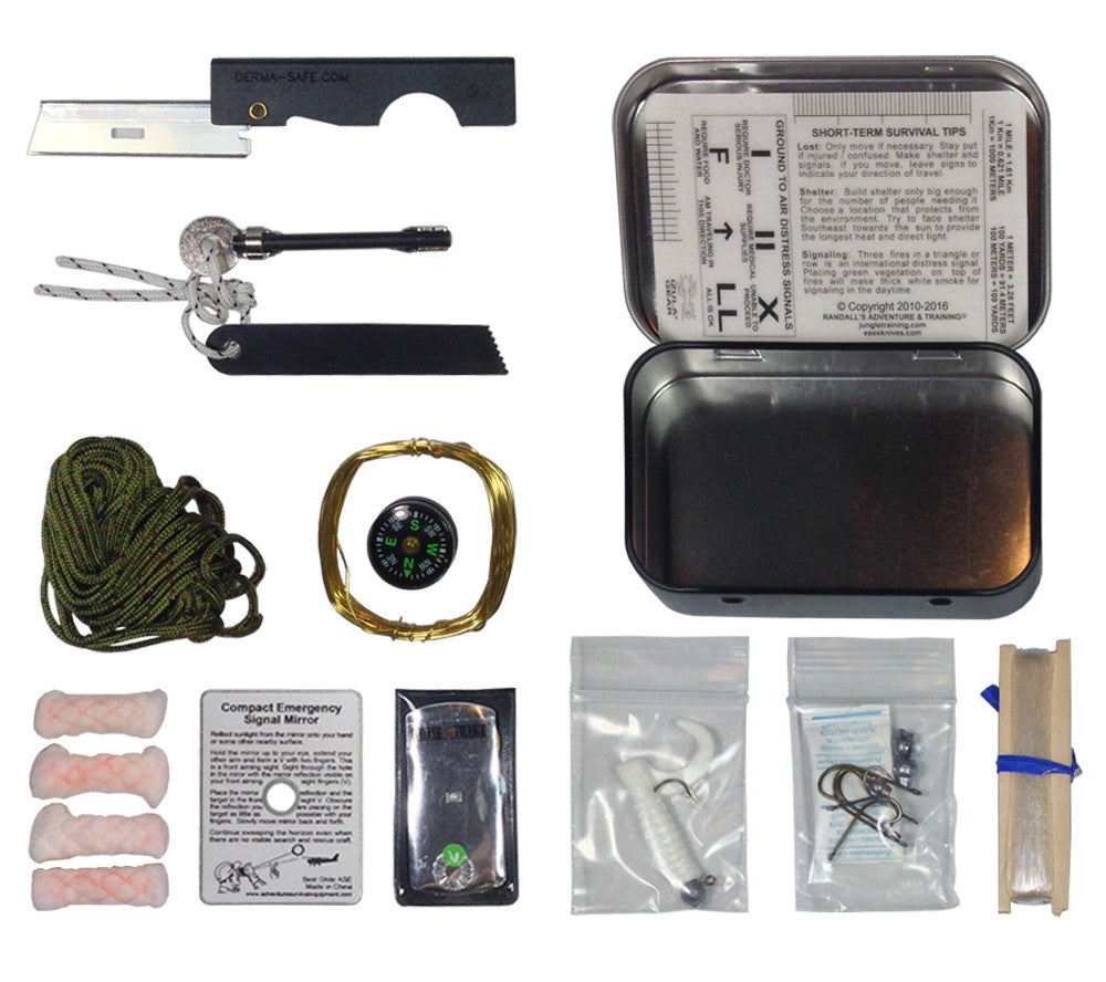 Mini Survival Kit contents include a fishing kit, folding razor, snare wire, LED light, and mirror.