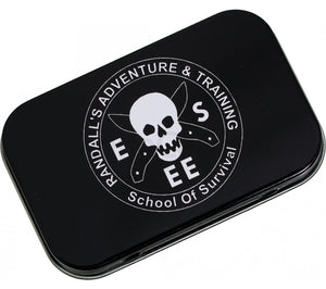 ESEE's Mini Survival Kit comes in an Altoids-sized tin with the Randall's Adventure & Training logo.
