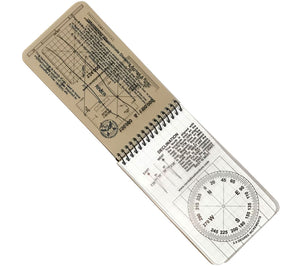 Each Navigation Notebook includes transparent map overlay cards with three different grid scales and protractor.