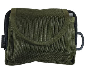 The Olive Drab 1000d Cordura Pouch has belt loops and D-ring for easy carry or attachment to other gear.