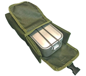 ESEE Knives MOLLE Compatible Pouch and Mess Kit Tin for survival and first aid kits.