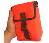 The ESEE Knives Kit Pouch is available in High Vis Orange or Olive Drab Cordura Nylon.
