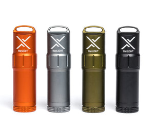 Exotac's titanLIGHT comes in four colors: orange, gunmetal, olive drab, and black.