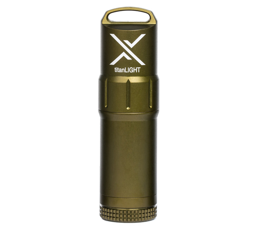 Olive Drab is a popular color choice for Exotac's titanLIGHT waterproof lighter.