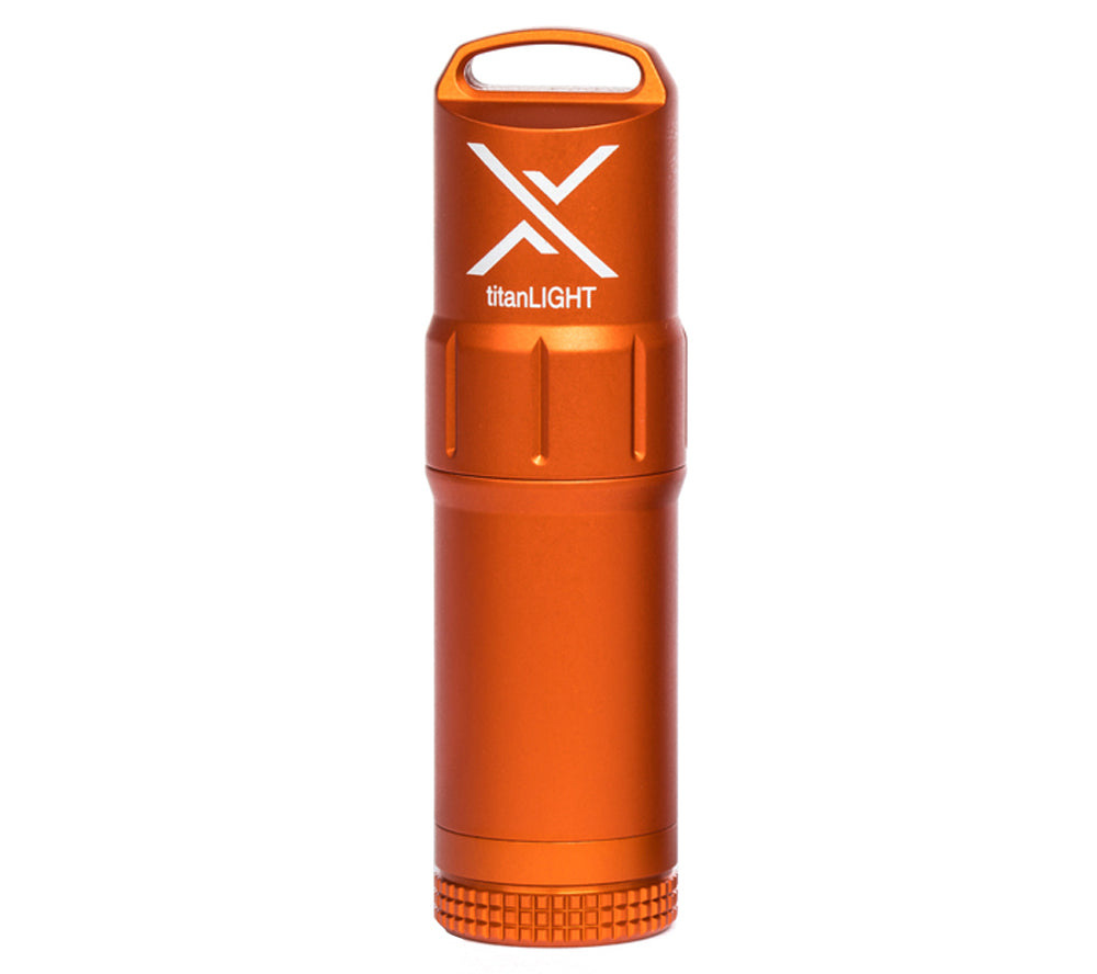 High visibility blaze orange anodized finish helps you quickly spot the titanLIGHT in an emergency.