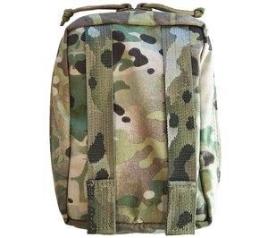 Back side of a Multicam SOF Med Pouch from First Spear, shown here in Multicam.