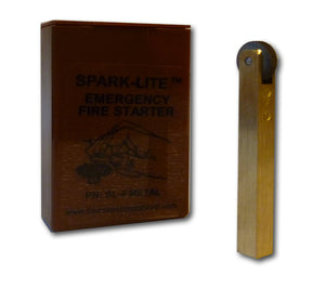 Each brass Spark-Lite comes in a brown plastic box for safe storage.