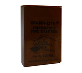 The brown plastic box holds the Brass SparkLite and TinderQuik tabs when not in use.