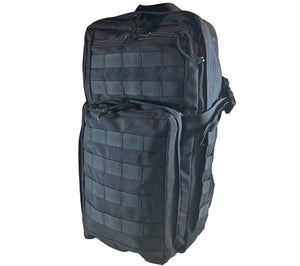 The version 1 Survival Backpack is available in black, and has side compression straps.