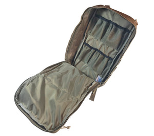 Our coyote brown survival backpack has a large main compartment with two smaller internal mesh pockets.