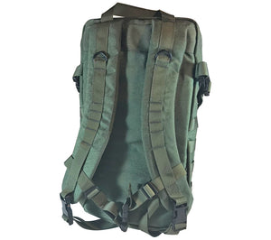 The 5col Survival Supply Survival Backpack, v1 Go-Bag has adjustable padded shoulder straps with an adjustable sternum strap.