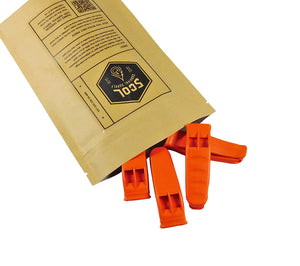 Emergency whistle 4-pack from 5col Survival Supply.