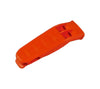 Each orange impact plastic whistle has a lanyard hole and pocket clip for easy carry.