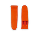 Front and back of the high visibility orange emergency signal whistle.