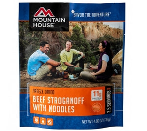 Mountain House Beef Stroganoff with Noodles Freeze Dried Meal.