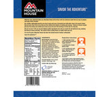 Nutritional information for Beff Stroganoff with Noodles from Mountain House freeze dried foods.