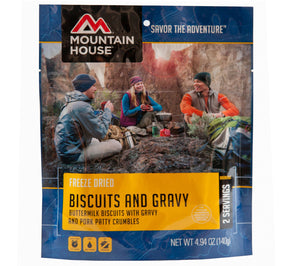 Mountain House Biscuits and Gravy Freeze Dried Breakfast.