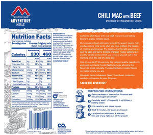 Nutritional Info for Mountain House Chili Mac with Beef.