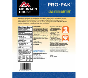 Nutritional info for Scrambled Eggs with Bacon Pro-Pak from Mountain House.