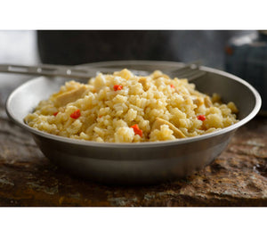 Rice and Chicken from Mountain House is an easy prep freeze dried meal ideal for camping, backpacking, emergency prearedness, and wilderness survival.