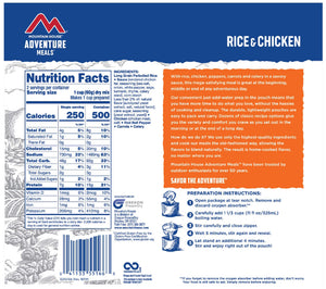 Nutritional info for Rice and Chicken from Mountain House.