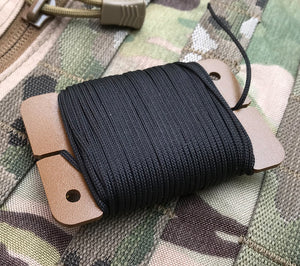 The Mini-Spool Card from Sagewood Gear will hold up to 75 ft. of cord, depending on cordage diameter.